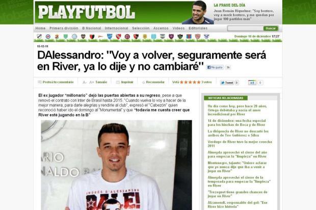 D'Alessandro reafirma desejo de retornar ao River Plate Reprodução /