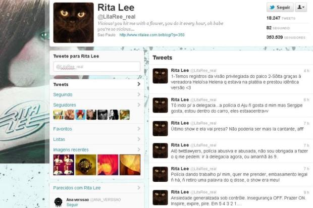 Rita Lee vai presa após show de despedida Twitter/Reprodução
