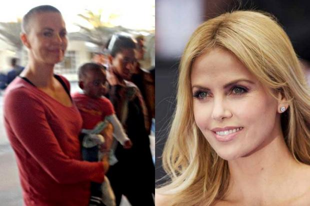 Charlize Theron  flagrada careca Reproduo/Daily Mail