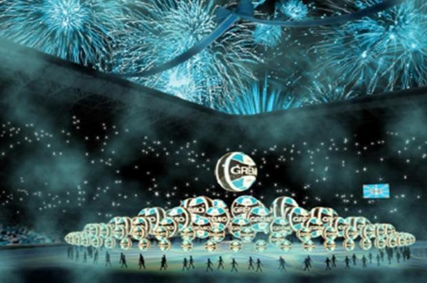 Fogos, homenagem ao Olímpico e Blue Man Group: como será o evento na Arena Divulgação/Agência RBS