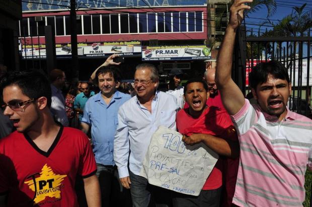 José Dirceu participa de evento do PT na Capital e diz que tese do mensalão é fraude Diego Vara/Agencia RBS