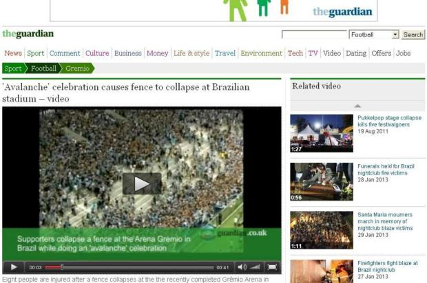 Imprensa internacional destaca incidente com avalanche na Arena do Grêmio Divulgação/The Guardian