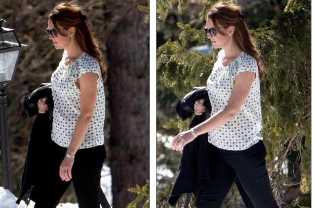 Grvida, Kate Middleton  vista nos Alpes Suos Daily Mail/Reproduo