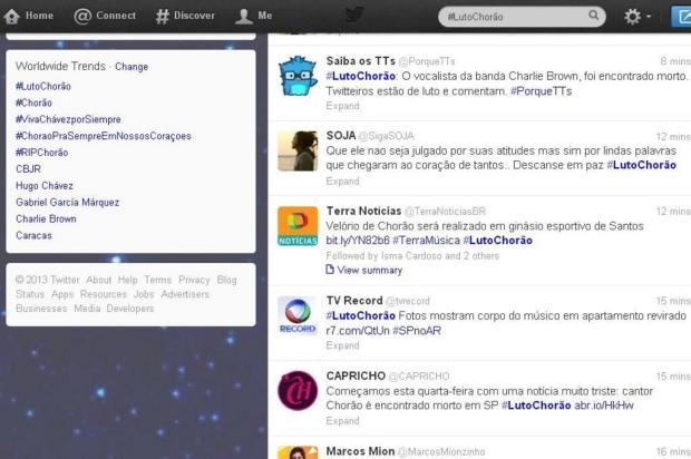 Repercusso da morte de Choro domina Trending Topics do Twitter Twitter/Reproduo