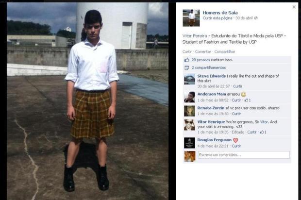 Estudante da USP usa saia para ir à aula e sofre preconceito Facebook/Reprodução