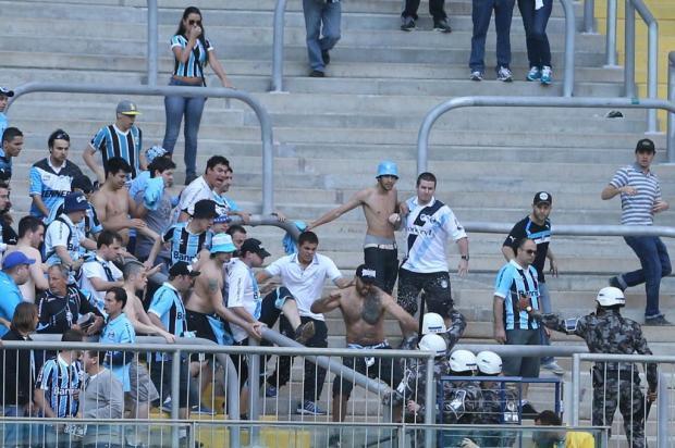 """""""A Geral está prejudicando o Grêmio"""", afirma major da BM sobre confusão na Arena Diego Vara/Agencia RBS"""