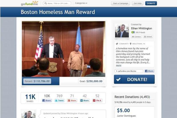Sem-teto devolve mochila com US$ 42 mil e recebe US$ 100 mil em doações Reprodução/Gofundme.com