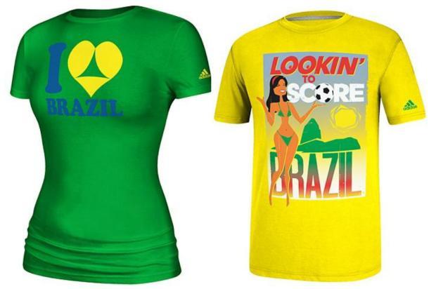Camisetas vendidas nos EUA com conotação sexual sobre Copa no Brasil causam polêmica Montagem sobre Reprodução/adidas.com/us/