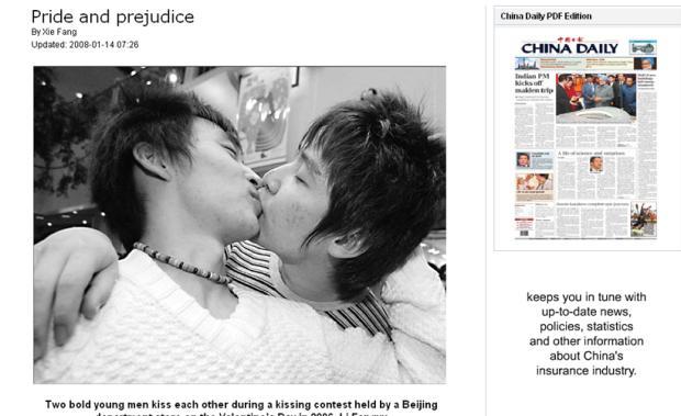 Foto De Homens Se Beijando Surpreende Leitores Jornal Chin S